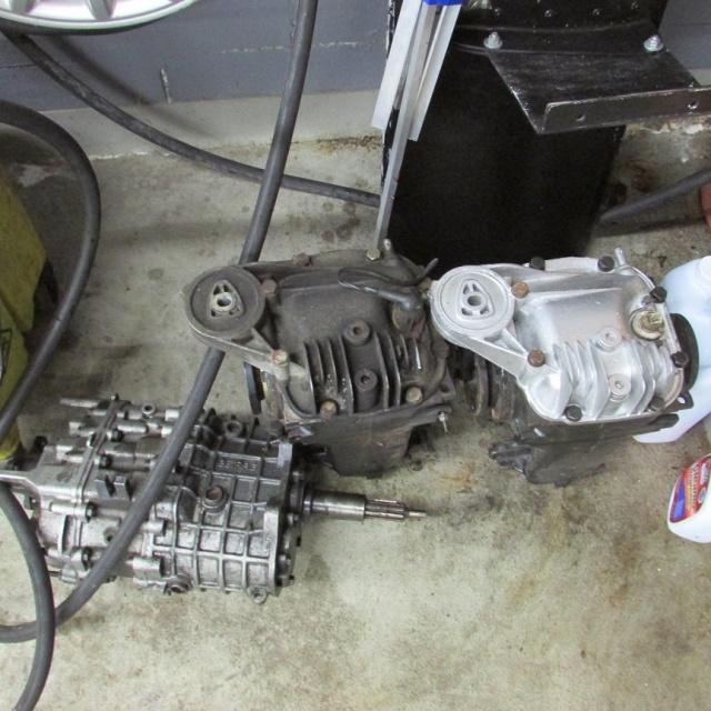 Transmission and rear differentials