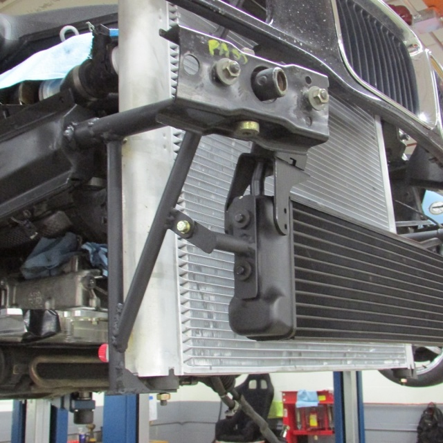 Oil cooler mounted in position