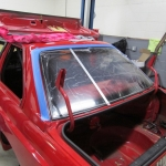 Lexan rear window installation in process